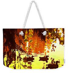 Ducks On Red Lake Weekender Tote Bag