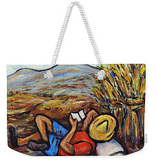 Weekender Tote Bag featuring the painting During The Break by Xueling Zou