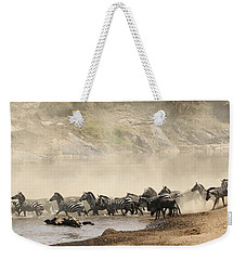 Weekender Tote Bag featuring the photograph Dusty Crossing by Liz Leyden