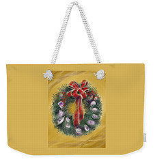 Weekender Tote Bag featuring the painting Duxbury Oyster Wreath by Jean Pacheco Ravinski