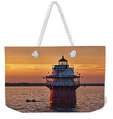 Duxbury Pier Light At Sunset Weekender Tote Bag