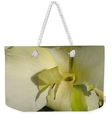 Weekender Tote Bag featuring the photograph Dwarf Canna Lily Named Ermine by J McCombie