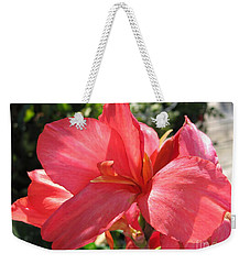 Weekender Tote Bag featuring the photograph Dwarf Canna Lily Named Shining Pink by J McCombie