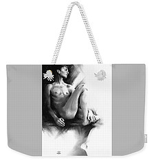 Weekender Tote Bag featuring the drawing Dylan by Paul Davenport