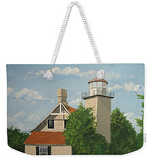 Weekender Tote Bag featuring the painting Eagle Bluff Lighthouse Wisconsin by Norm Starks