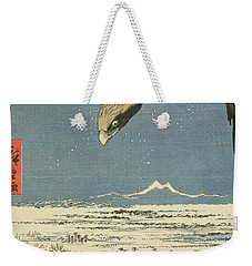 Eagle Over One Hundred Thousand Acre Plain At Susaki Weekender Tote Bag by Hiroshige