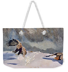 Eagles And Rabbit, 1922 Weekender Tote Bag by Bruno Andreas Liljefors