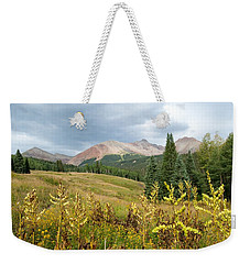 Weekender Tote Bag featuring the photograph Early Autumn In The San Juans -  Mount Wilson And Wilson Peak by Cascade Colors
