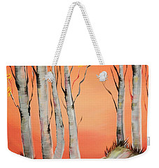 Weekender Tote Bag featuring the painting Early Winter Aspen by Janice Rae Pariza