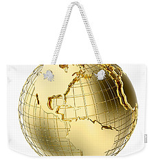 Earth In Gold Metal Isolated On White Weekender Tote Bag