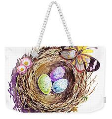 Easter Colors Bird Nest Weekender Tote Bag by Irina Sztukowski