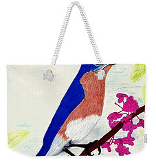 Weekender Tote Bag featuring the drawing Florida - Eastern - Blue Bird by D Hackett