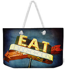 Eat Barbecue Vintage Sign - Textured Photo Art Weekender Tote Bag by Ann Powell