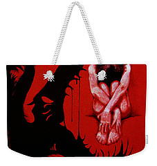 Weekender Tote Bag featuring the painting Eater by Dale Loos Jr