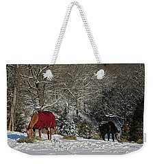 Weekender Tote Bag featuring the photograph Eating Hay In The Snow by Denise Romano