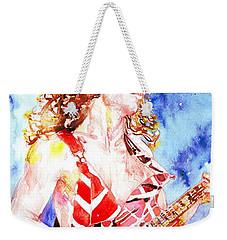 Eddie Van Halen Playing The Guitar.2 Watercolor Portrait Weekender Tote Bag by Fabrizio Cassetta