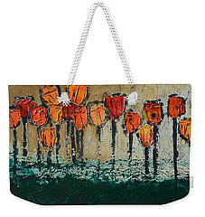 Weekender Tote Bag featuring the painting Edgey Tulips by Linda Bailey