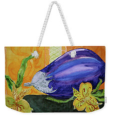 Weekender Tote Bag featuring the painting Eggplant And Alstroemeria by Beverley Harper Tinsley