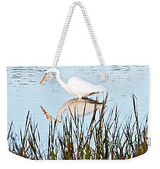 Weekender Tote Bag featuring the photograph Egret And Coot In Autumn by Kate Brown