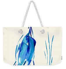 Egret In Blue Mixed Media Weekender Tote Bag