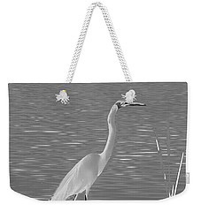 Weekender Tote Bag featuring the photograph Egret In White Satin by Frank Bright