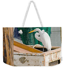 Egret With Fishing Net Weekender Tote Bag by Allen Sheffield