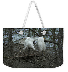 Weekender Tote Bag featuring the photograph Egrets On Nest Louisiana by Lizi Beard-Ward