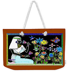 Weekender Tote Bag featuring the digital art Egyptian Flower  Garden by Hartmut Jager