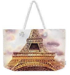 Weekender Tote Bag featuring the painting Eiffel Tower Vintage Art by Irina Sztukowski