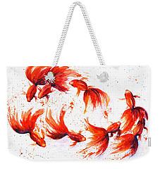 Eight Dancing Goldfish  Weekender Tote Bag by Zaira Dzhaubaeva