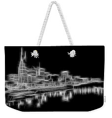 Electric Nashville Skyline At Night Weekender Tote Bag by Dan Sproul