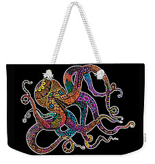 Electric Octopus On Black Weekender Tote Bag by Tammy Wetzel