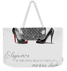 Elegance Never Fades Black And White Weekender Tote Bag by Rebecca Jenkins