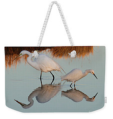 Elegant Big And Small Great White And Snowy Egrets Weekender Tote Bag