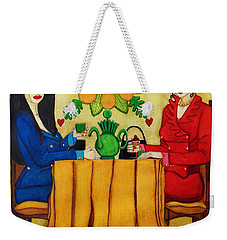 Weekender Tote Bag featuring the painting Elegant Ladies In A Coffee-shop by Don Pedro De Gracia