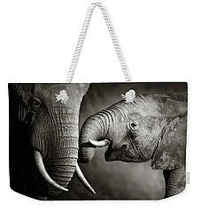 Elephant Affection Weekender Tote Bag