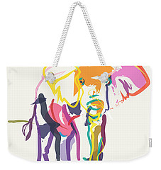 Elephant In Color Ecru Weekender Tote Bag