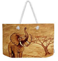 Elephant Majesty Original Coffee Painting Weekender Tote Bag