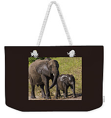Elephant Mom And Baby Weekender Tote Bag