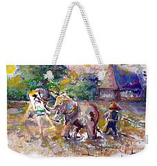 Weekender Tote Bag featuring the painting Elephant Painting by Bernadette Krupa
