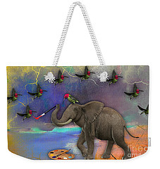 Elephant Painting Birds Out Of Thin Air. Weekender Tote Bag