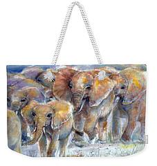 Weekender Tote Bag featuring the painting Elephant Walk by Bernadette Krupa