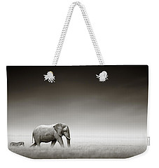 Elephant With Zebra Weekender Tote Bag