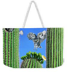 Elf Owls Of Saguaro Desert Weekender Tote Bag