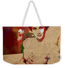 Elizabeth Taylor Watercolor Portrait On Worn Distressed Canvas Weekender Tote Bag by Design Turnpike