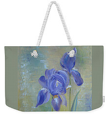 Weekender Tote Bag featuring the painting Elizabeth's Irises by Judith Rhue