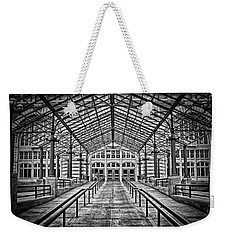 Weekender Tote Bag featuring the photograph Ellis Island Entrance by Ben Shields