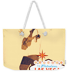 Weekender Tote Bag featuring the mixed media Elvis On Tv by Michelle Dallocchio