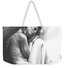 Weekender Tote Bag featuring the drawing Embryonic 1 by Paul Davenport