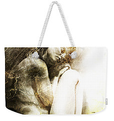 Weekender Tote Bag featuring the drawing Embryonic Drawing Textured by Paul Davenport